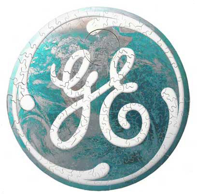 wooden jigsaw puzzle GE General Electric