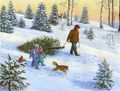 Bringing Home the Christmas Tree wooden jigsaw puzzle