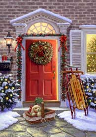 Christmas Doorway wooden jigsaw puzzle
