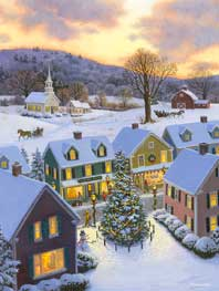 Old New England Christmas wooden jigsaw puzzle