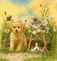 Puppies and Kitten wooden jigsaw puzzle