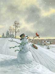 Snowman and Friend wooden jigsaw puzzle