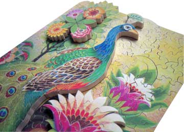Peacock wooden jigsaw puzzle